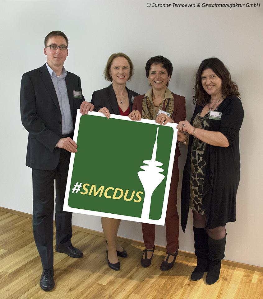 Die Gründer des Social Media Clubs Düsseldorf (v.l.): Michael Milewski, Dr. Claudia Hilker, Melanie Tamblé und Monika Zehmisch